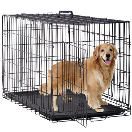 Folding Dog Crate Cage Double Door Pet Crate w/ Divider & Tray, Large,
