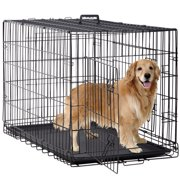 """Folding Dog Crate Cage Double Door Pet Crate w/ Divider & Tray, Large, 48"""""""