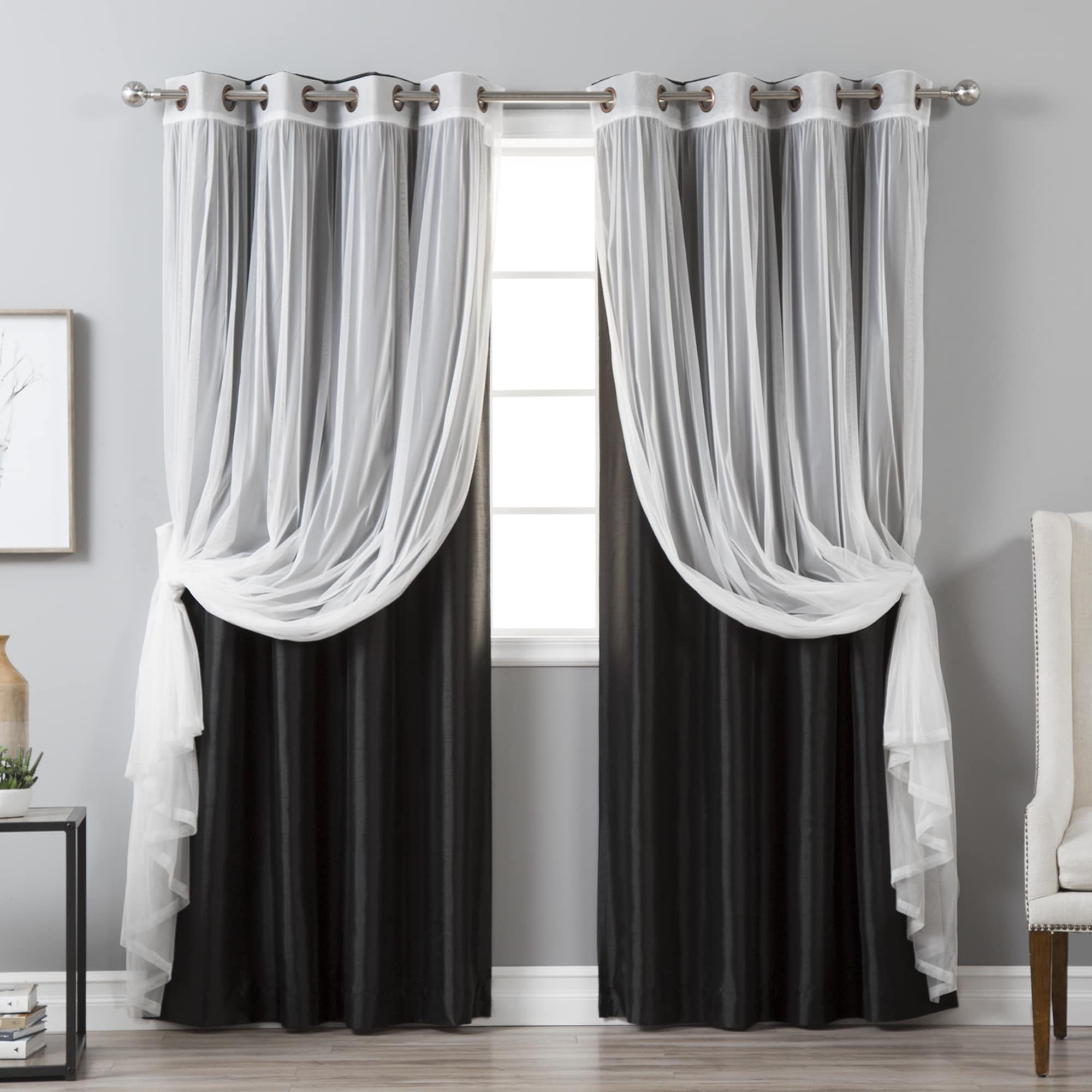 Aurora Home  Mix & Match Faux Silk Blackout Tulle Sheer 4 Piece Panel Curtain Set - 52x84