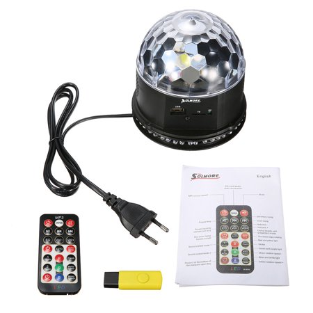 Sound Activated Remote Control 3 RGB 48 LED Lights Crystal Magic Ball Support Music MP3 Player for Stage Lights Party Lights Christmas Halloween Disco DJ Lights - image 3 de 11
