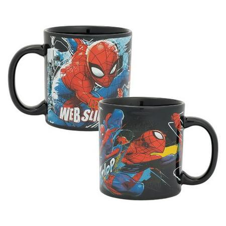 Vandor LLC Marvel Spider-Man Web Slinging Time 20 oz. Ceramic Mug (Set of 2) - Web Slinging Games