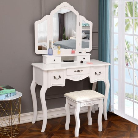 buy online 7d0db de5f4 Ktaxon Tri-Folding Mirror Vanity Set 5 Drawers Dressing Table Makeup Desk  with Stool,White