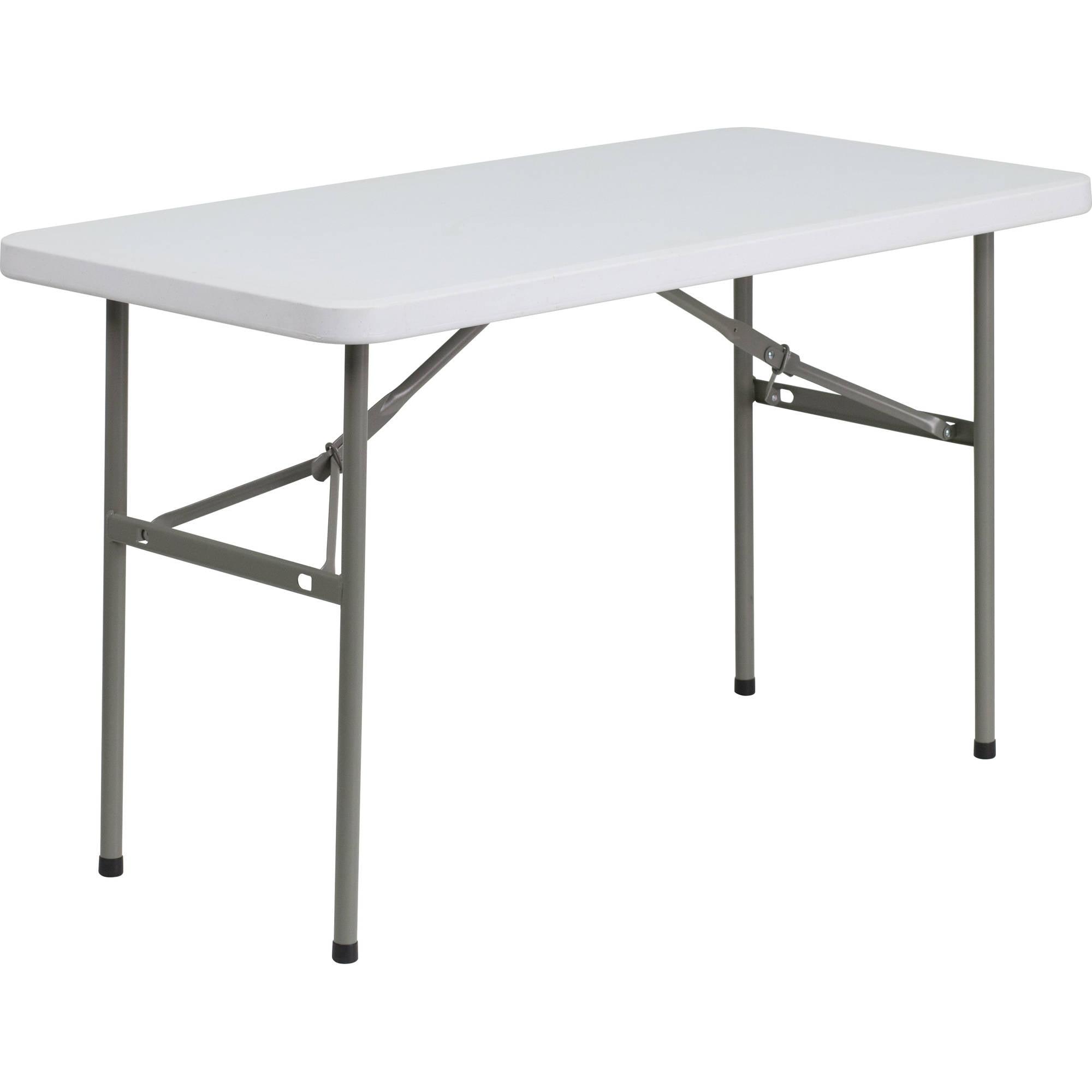 Flash Furniture 24''W x 48''L Granite White Plastic Folding Table by Flash Furniture