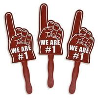 Fun Express - We're #1 Finger Burgundy Fans - Party Supplies - Favors - Fans - 12 Pieces