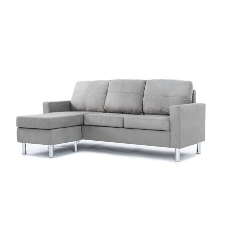 Modern Microfiber Sofa - Modern Soft Brush Microfiber Sectional Sofa - Small Space Configurable Couch (Grey)