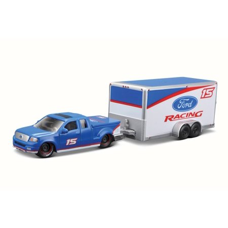 2004 Ford F-150 Pick Up Truck #15 w/ car trailer, Blue - Maisto 15368F - 1/64 Scale Diecast Model Toy Car ()