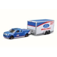2004 Ford F-150 Pick Up Truck #15 w/ car trailer, Blue - Maisto 15368F - 1/64 Scale Diecast Model Toy Car