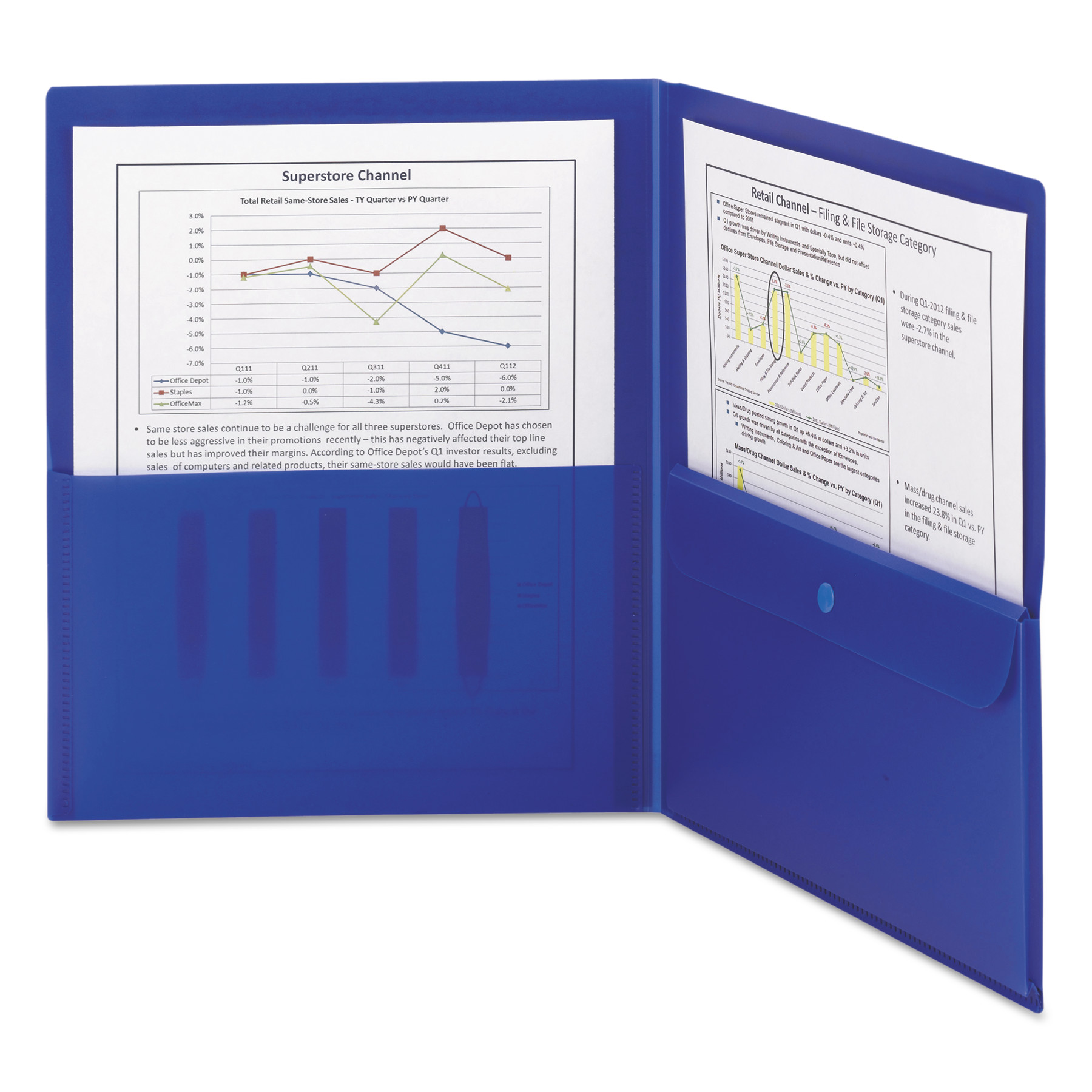 Smead Poly Two-Pocket Folder w/Security Pocket, 11 x 8 1/2, Blue, 5/Pack -SMD87701