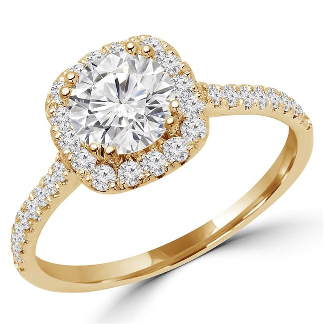 Majesty Diamonds MD170282-4 1.05 CTW Round Diamond Halo Engagement Ring in 14K Yellow Gold - Size 4