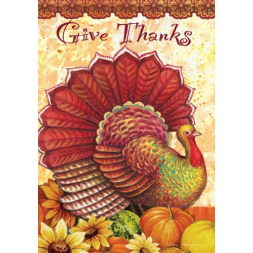 "Thankful Turkey Thanksgiving Garden Flag Decorative Holiday Yard Banner 13""x18"""