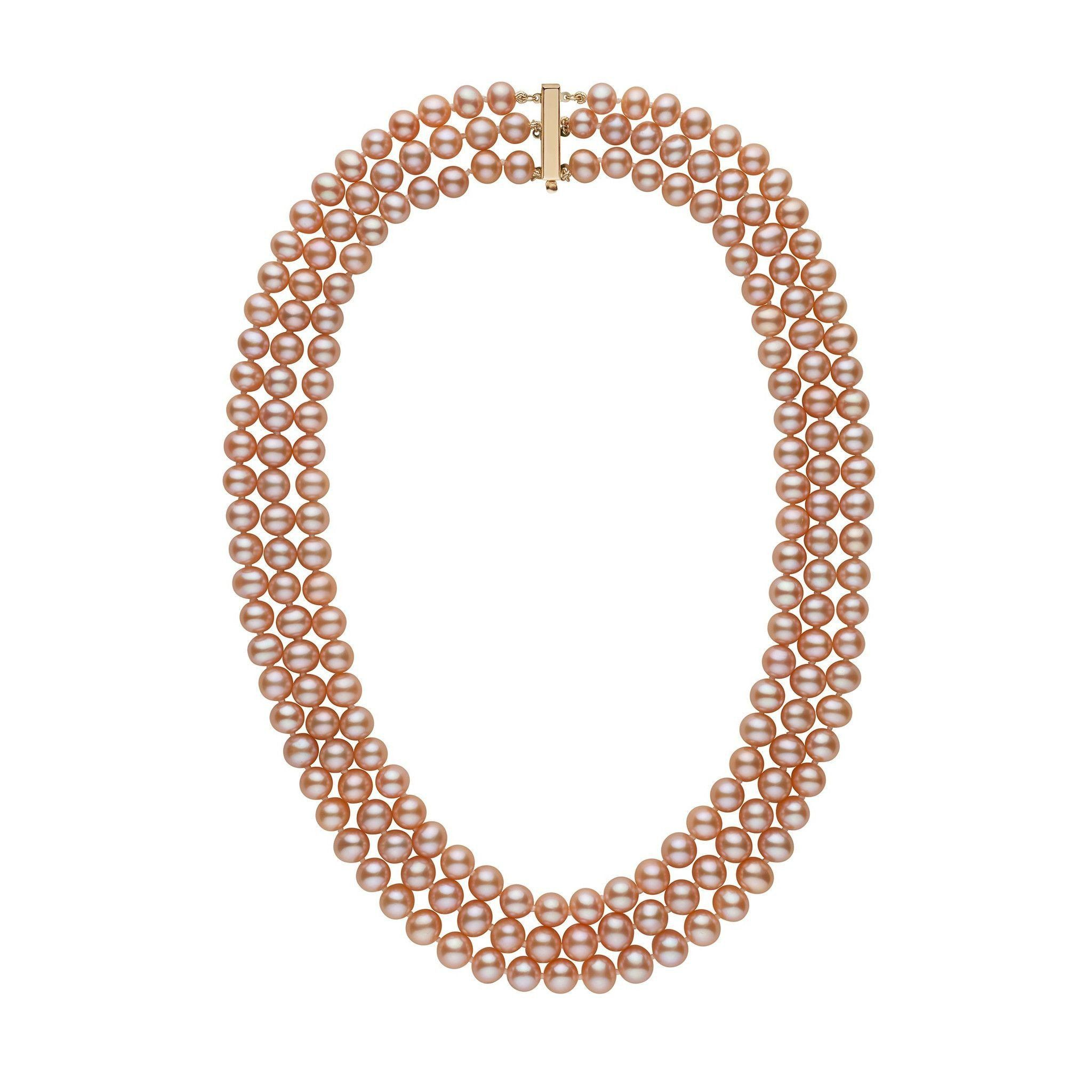 6.5-7.0 mm Triple-Strand AA+ Pink to Peach Freshwater Cultured Pearl Necklace by Pearl Paradise