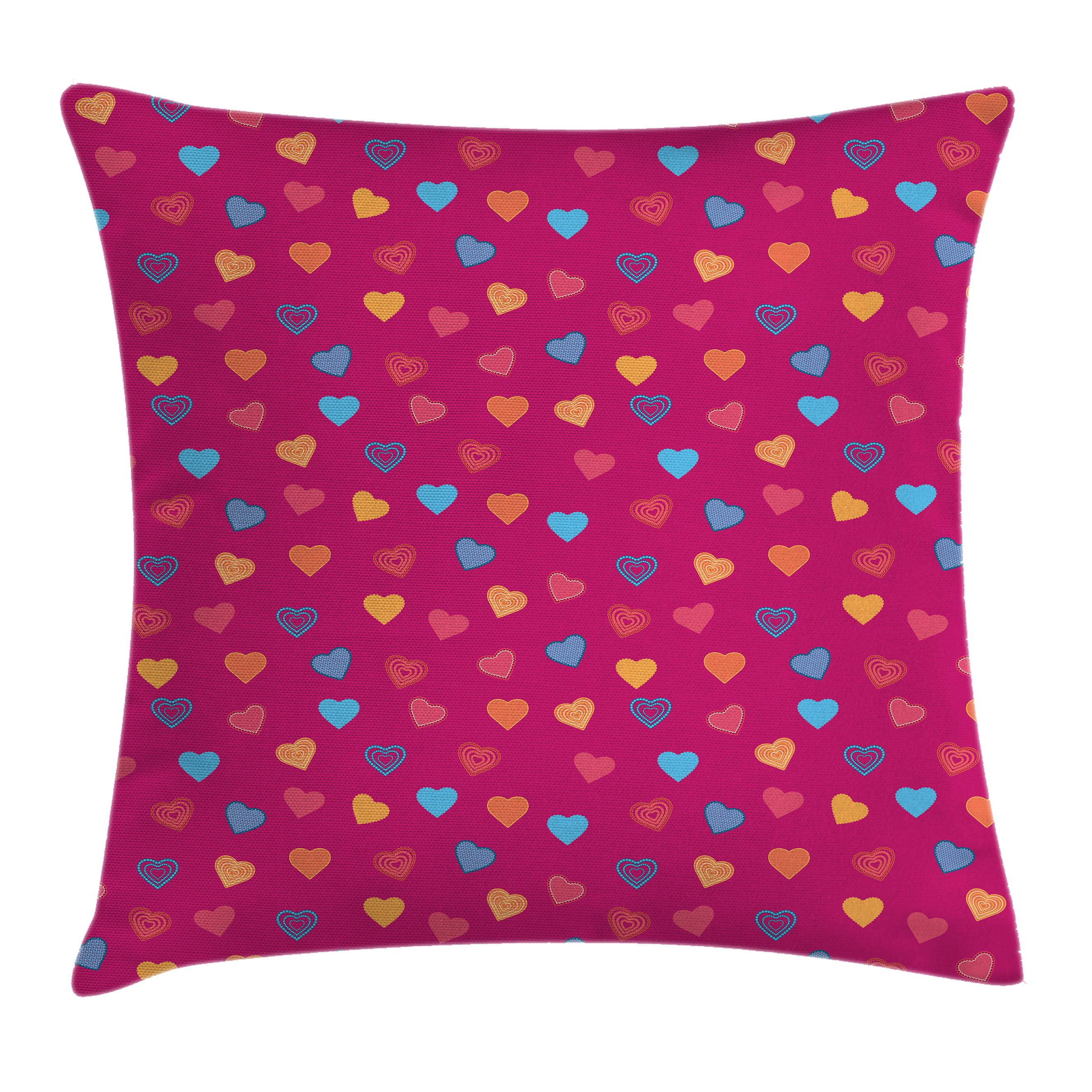 Magenta Decor Throw Pillow Cushion Cover, Cute Heart Figures Valentine Days Lovers Kids Nursery Baby Love Festive Concept, Decorative Square Accent Pillow Case, 16 X 16 Inches, Multi, by Ambesonne