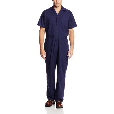 Walls Work Men's Short Sleeve Poplin Non-Insulated Mechanic Coverall, Navy, - Children's Mechanic Coveralls