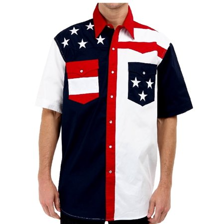 Roper Western Shirt Mens S/S USA Embroidery Blue 03-002-0185-0304 BU