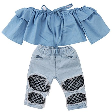 541574375c28bd Newborn Kids Baby Girls Off Shoulder Tops Denim Pants Hole Jeans Outfits  Toddler Infant Clothes ...