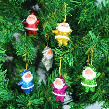 Christmas Tree Ornaments Santa Claus Pendant 6 Pieces Christmas