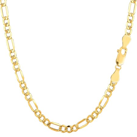14k Semi-Solid Yellow Gold 3.5 mm Figaro Lite Chain 18