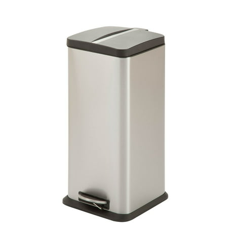 Honey Can Do 30-Liter Square Step Trash Can, Stainless Steel