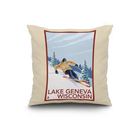 Lake Geneva Wisconsin Downhill Skier Lantern Press Poster 20x20 Spun P