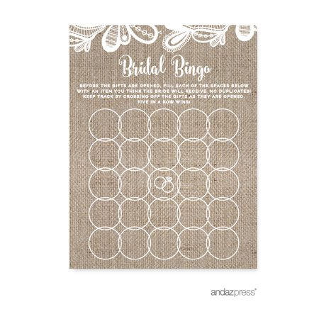 Bridal Shower Bingo  Burlap Lace Wedding Bridal Shower Game Cards, 20-Pack for $<!---->
