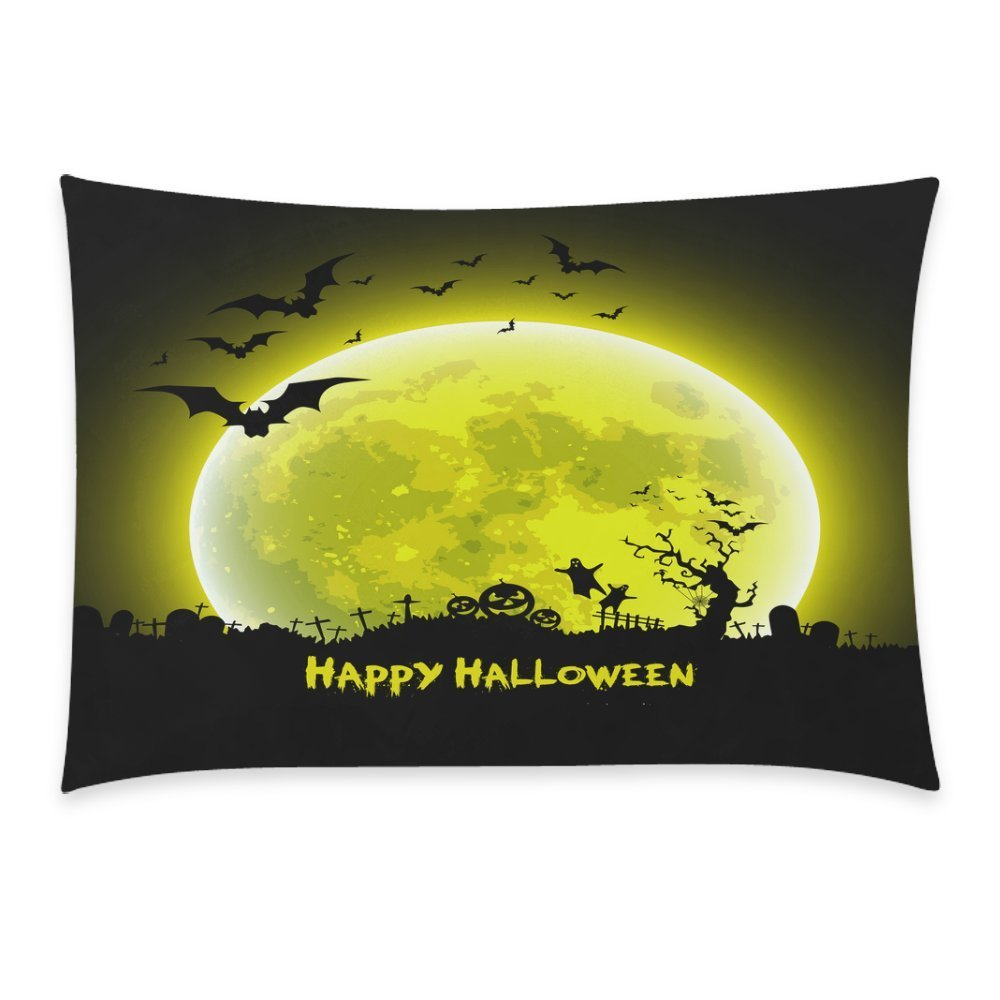 ZKGK Happy Halloween Party Castle Bat Ghost Home Decor Pillowcase 20 x 30 Inches,Moon... by ZKGK