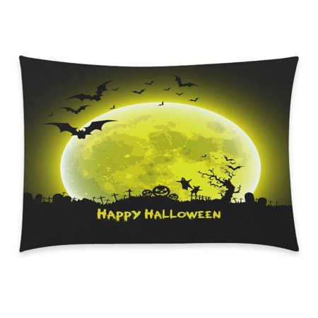 ZKGK Happy Halloween Party Castle Bat Ghost Home Decor Pillowcase 20 x 30 Inches,Moon Night House Pillow Cover Case Shams Decorative](20 30 Halloween Party Napa)