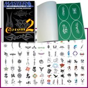 SET 2 BOOK 100 Reusable Airbrush Temporary Tattoo Stencil Art Designs Templates
