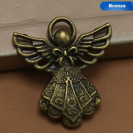 KABOER 10pcs Antique Wing Angel Charms Beads Pendants for DIY Bracelet Necklace Fashion