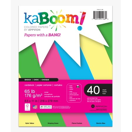 Colored Card Stock (KABOOM SHOCK PRIMARY COLORED CARDSTOCK, 40 SHT ASST)