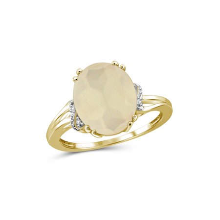 JewelersClub 4-1/4 Carat T.G.W. Moonstone and White Diamond Accent 14kt Gold over Silver Ring