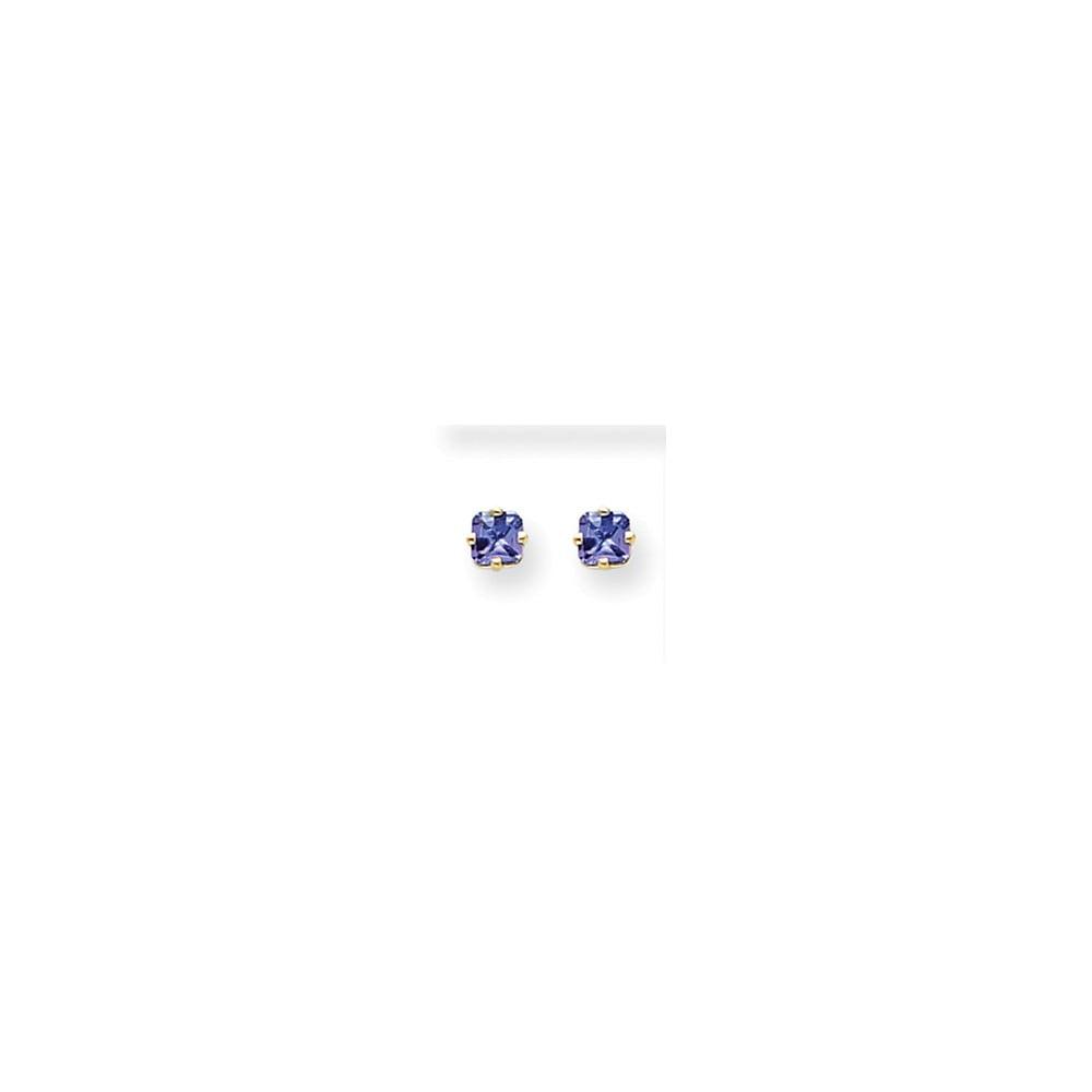 14k Yellow Gold Tanzanite Post Back Stud Earrings. Gem Wt- 0.7ct (4MM)