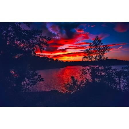 Canvas Print Lake Lanier Sky Dusk Sunset Beautiful Georgia Stretched Canvas 10 x