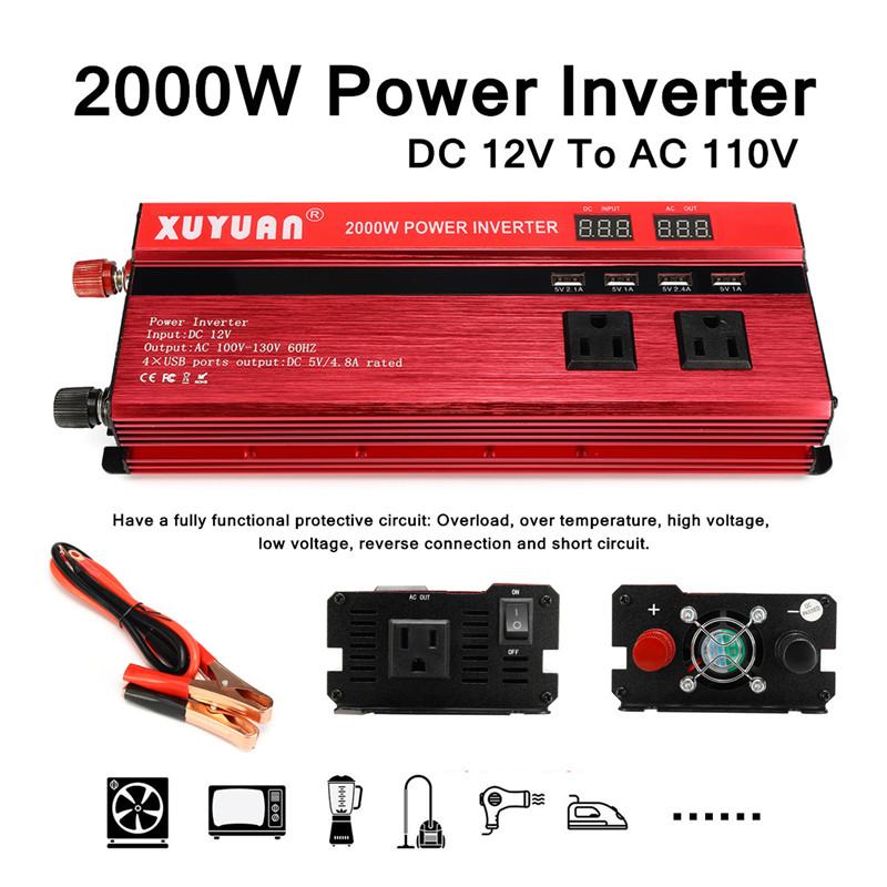 950W 2000W Peak Car Power Inverter Converter Adapter Modified Sine on