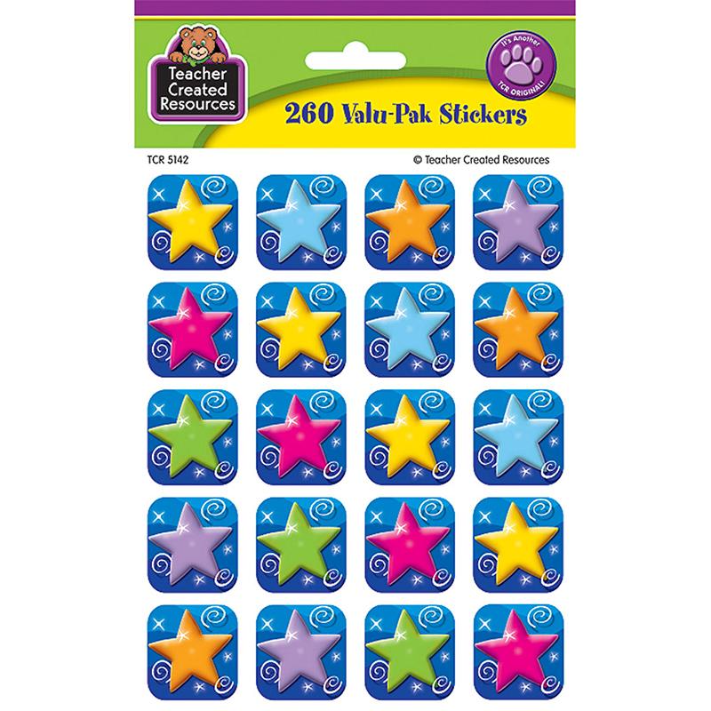 COLORFUL STARS STICKERS VALU-PAK 260/PK