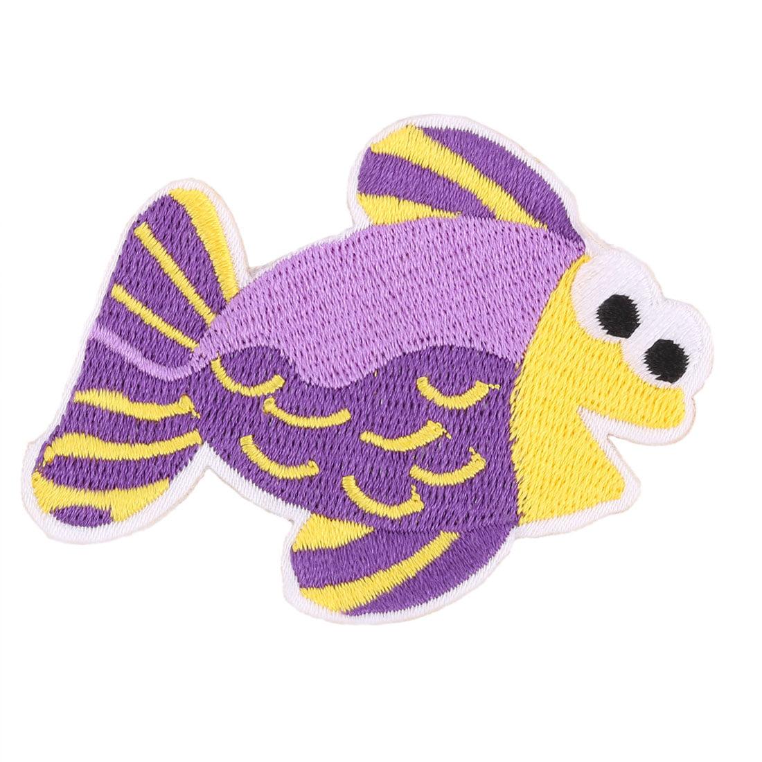 Unique Bargains Polyester Fish Design Embroidered DIY Clothes Patch Decor Lace Applique Colorful