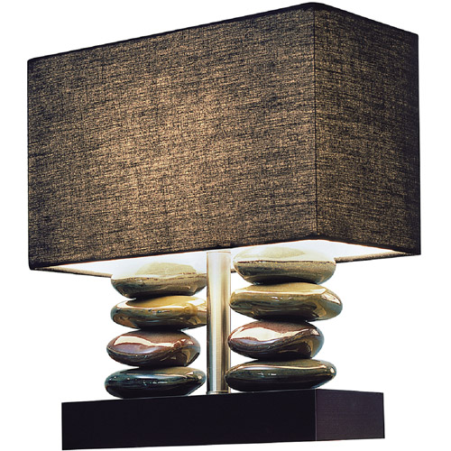 Elegant Designs Rectangular Dual Stacked Stone Ceramic Table Lamp with Black Shade by All the Rages Inc