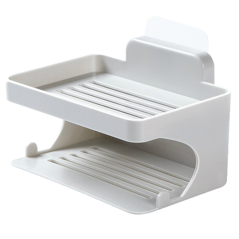 Kitchen Bath Stainless Steel Double Layer Soap Dish Holder Rack Case Home Toilet