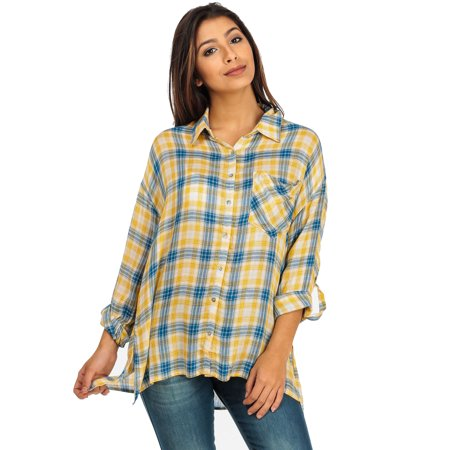 Womens juniors long sleeve plaid button down shirt yellow for Women s plaid button down shirts