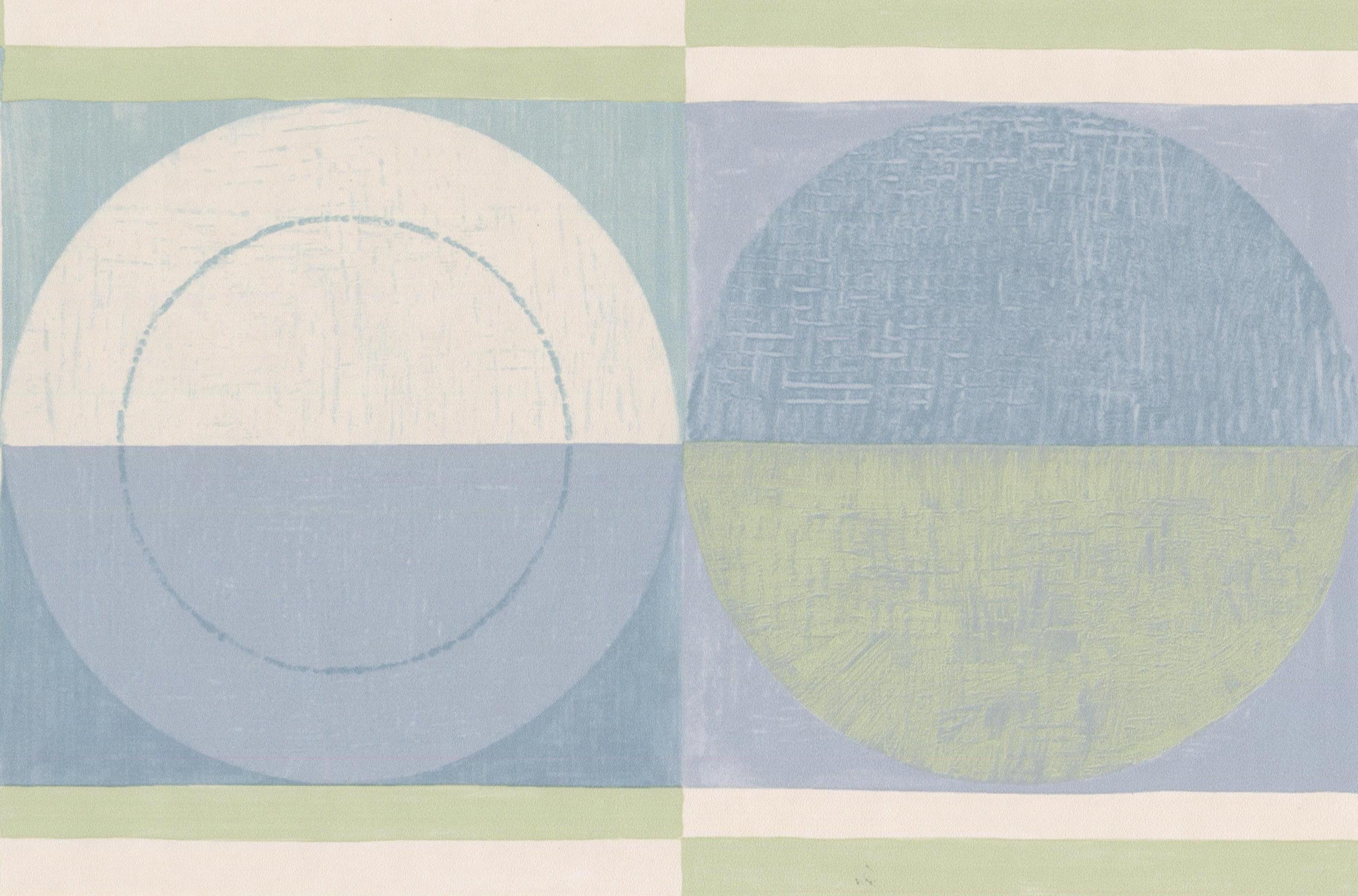 Abstract Blue Green Beige Semi Circles Bathroom Kitchen Wallpaper ...