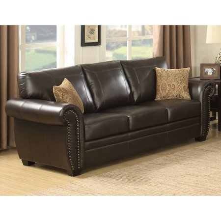 AC Pacific Louis Traditional Brown Leather Infused Fabric Stationary Sofa  with Acccented Nail Head Trim
