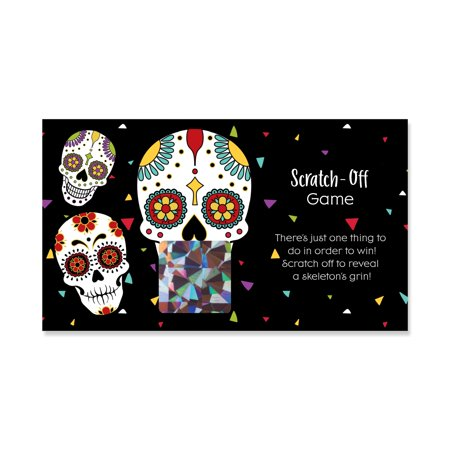 Day Of The Dead - Halloween Sugar Skull Party Scratch Off Card - 22 Count - Halloween Party Day