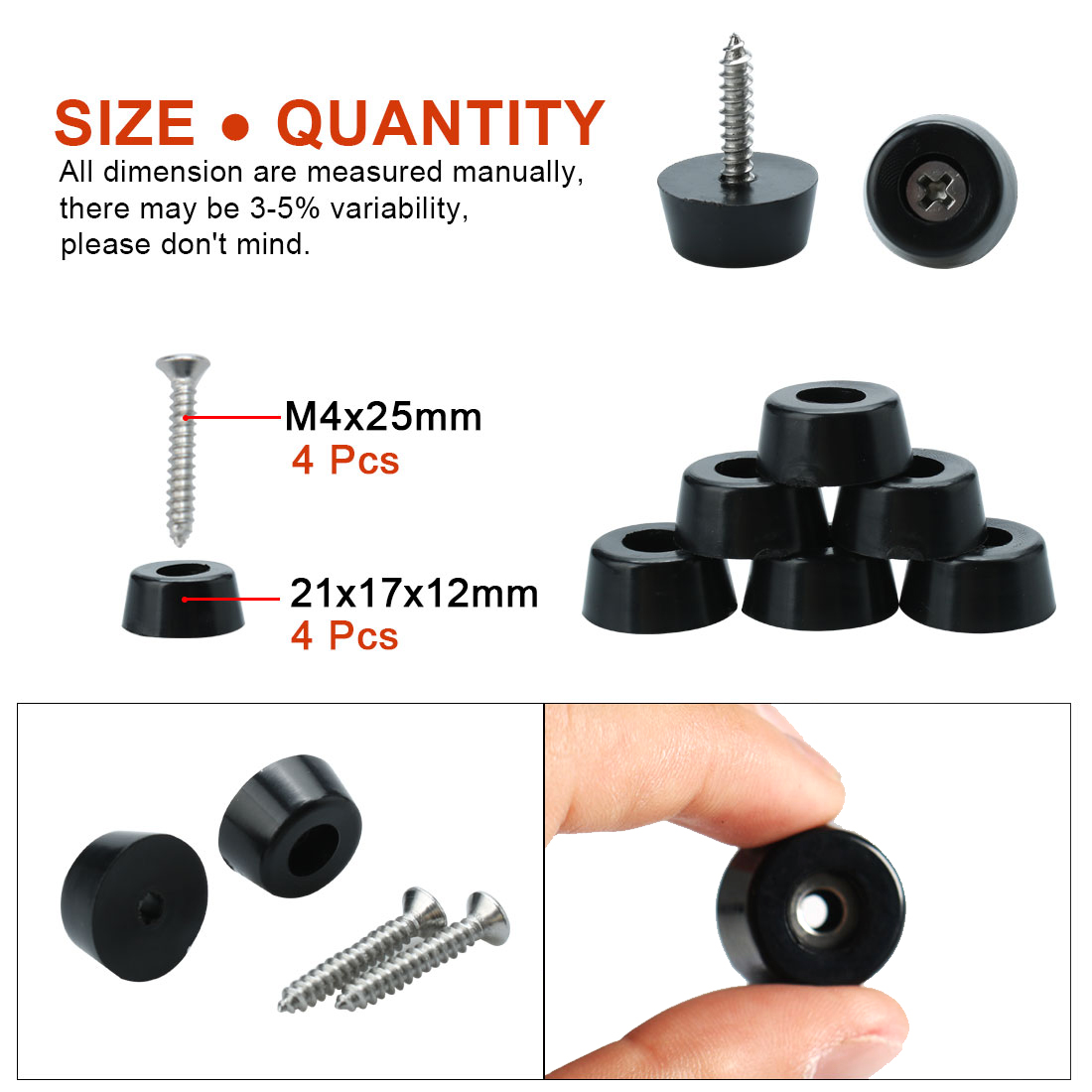 4pcs Rubber Feet Bumper Furniture with Metal Washer and Screws, D21x17xH12mm - image 2 de 7