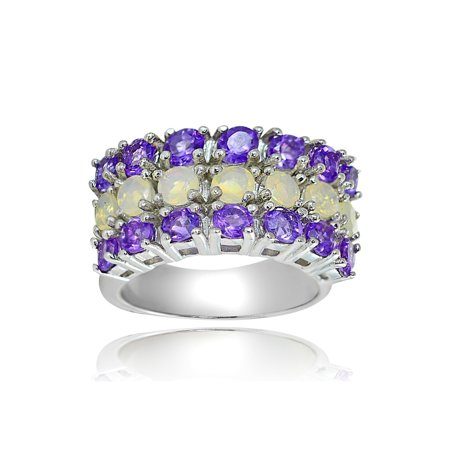 Sterling Silver 1.6ct Ethiopian Opal and African Amethyst 3 Row Ring