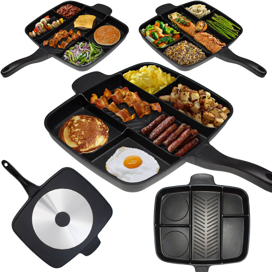 The Master Pan Non-Stick Divided Meal Skillet 15 Grill Fry Oven/Dishwasher Safe