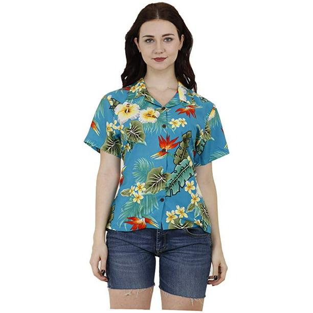 Hawaiian Shirts 46W Womens Flower Leaf Beach Aloha Top Blouse Turquoise XS