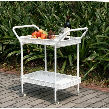 Resin Outdoor Patio Serving Cart (Wicker Lane Outdoor Wicker Patio Furniture Serving Cart )