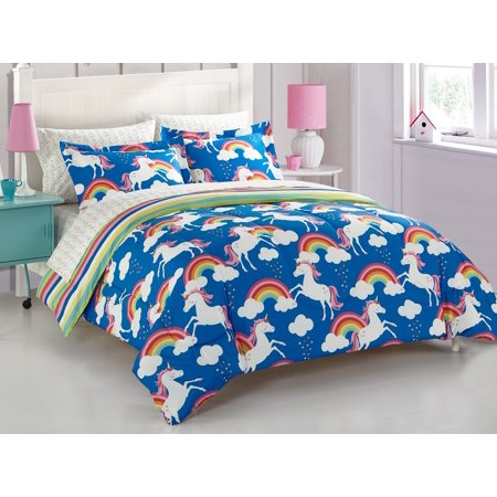 mainstays kids rainbow unicorn bed in a bag. Black Bedroom Furniture Sets. Home Design Ideas