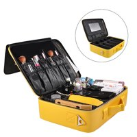 """Portable PU Leather Makeup Brush Train Case 3 layer Travel Cosmetic Organizer Bag Gifts,16""""x11""""3.9"""" Yellow"""
