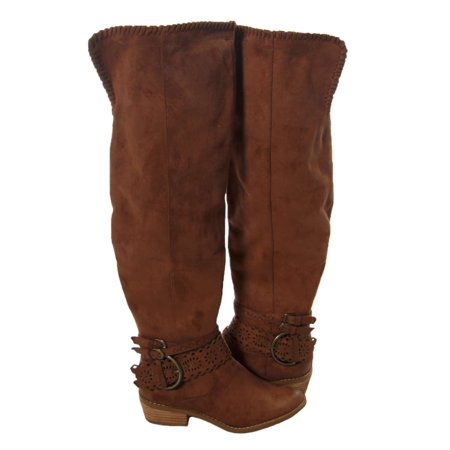c2e5035b740 Not Rated Womens Beval Fabric Closed Toe Over Knee Riding Boots - image 1  of 2 ...