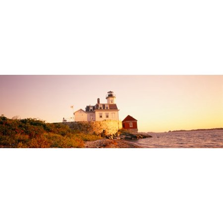 Lighthouse at the coast Rose Island Light Newport Rhode Island New England USA Stretched Canvas - Panoramic Images (27 x 9)